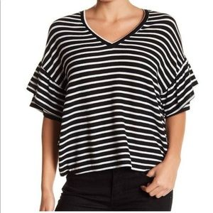 H by Bordeaux Striped Ruffle Sleeve Tee Top Small